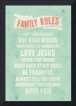 Be Thankful Family Rules Wall Art