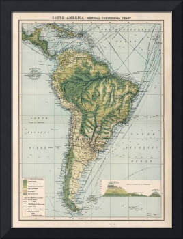 Old South America Commercial Shipping Route Map (1