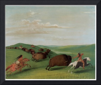 George Catlin's Buffalo Chase with Bows and Lances