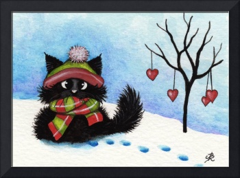Winter Love Black Cat