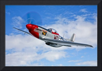 A P-51D Mustang in flight near Hollister, Californ