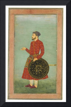 A portrait of Khan Zaman with shield and sword, at