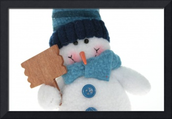 Snowman that keep blank sign to put your word or l