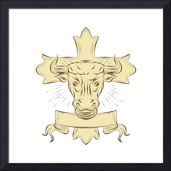 Taurus Bull Christian Cross Drawing