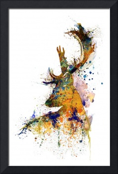 Deer Head Watercolor Silhouette