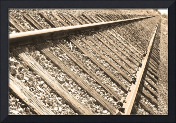 Train Tracks Sepia Triangular