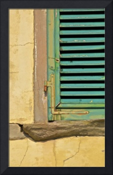 Worn Weathered Green Window Shutter of Tuscany