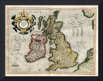 Vintage Map of The British Isles (1596)