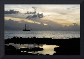 Pirate Ship Sunset Cayman Islands calm ocean