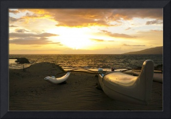 outrigger canoe at sunset 3