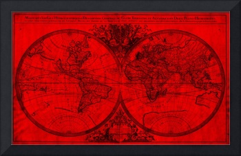 World Map (1691) Red & Black
