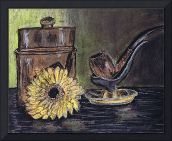 pipe, canister, and yellow flower, still life