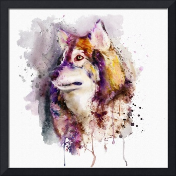 Watercolor Wolf Portrait