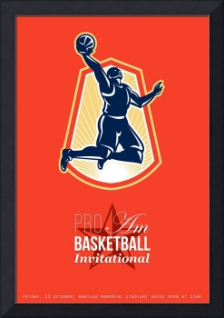 Pro Am Basketball Invitational Retro Poster