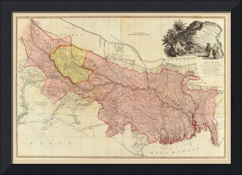 Map of Bengal, Bahar, Oude and Allahabad, India by