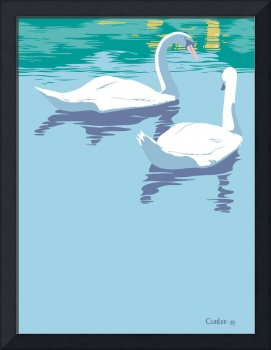 Abstract Swans bird lake pop art