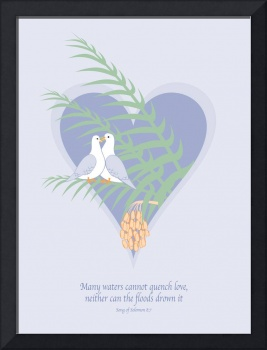 Love Doves On Palm Tree - No Background Texture