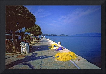 Seafront with Yellow Nets, Island of Hydra, Greece