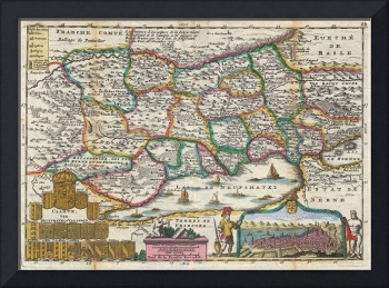 Vintage Map of Switzerland (1747)