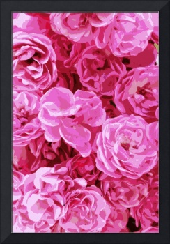 Canvas of Pink Roses - Digital Art