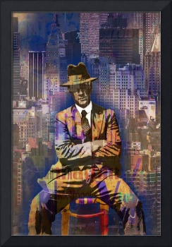 New York Man Seated City Background 1