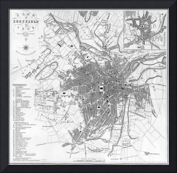 Vintage Map of Sheffield England (1823)