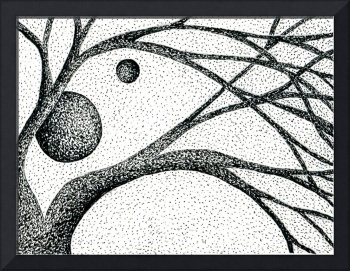 Pen & Ink Illustration Of Tree Branches And Moons