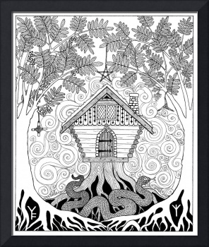 Rowan Ogham Card - Black and White