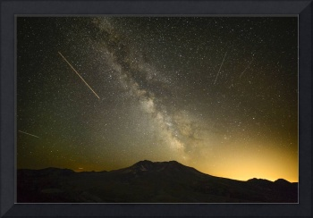 Milky Way with light trails over Mount St. Helens