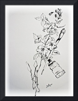 Ink Line Work Still Life Flowers and Objects