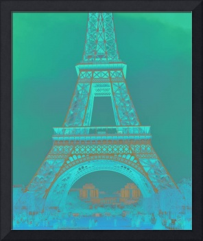 Eiffel Tower in Turquoise