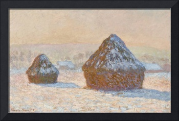 Wheatstacks, Snow Effect, Morning by Monet