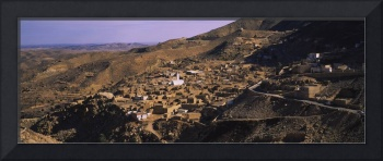 High angle view of a village on a hillside