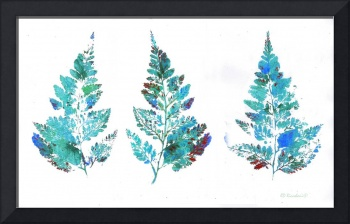 Blue Fern Leaves Abstract Triptych