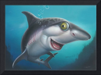 Great White Shark Sea Life Ocean Cartoon Art