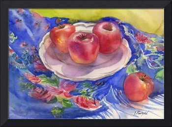 still-life with apples and blue babushka