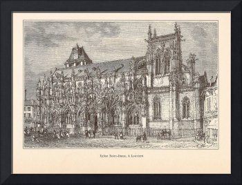 Gravure Notre Dame Louviers by H. Clerget