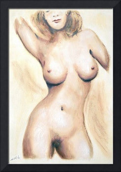 Original Painting of a NUDE FEMALE TORSO - G Linse