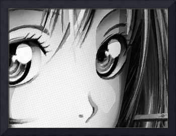 Anime Girl Eyes 2 Black And White