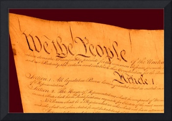 US Constitution Closeup Red Brown Background