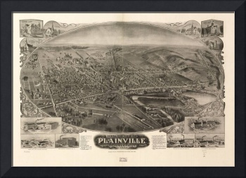 1907 Plainville, CT Bird's Eye View Panoramic Map