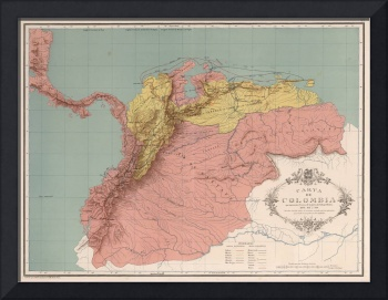Vintage Map of Colombia (1890)