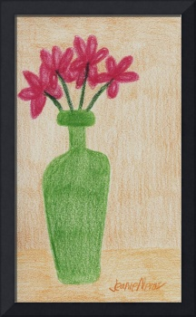 Red Flowers in Green Vase