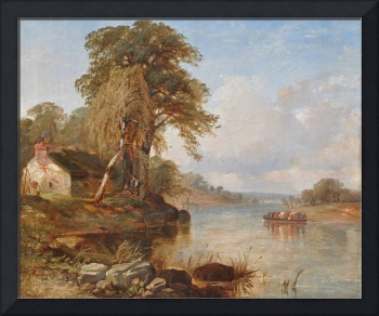 Thomas Creswick - Boating Party on the River Thame