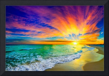colorful ocean sunset orange and red beach sunset