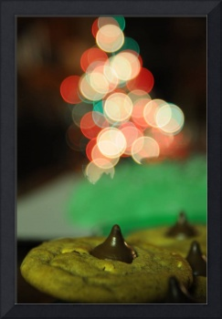 christmas cookies and tree bokeh