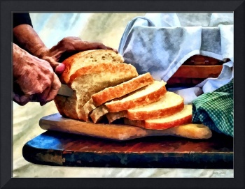 Grandma Slicing Bread