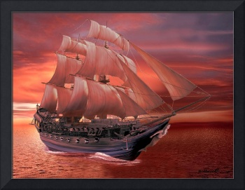 SHIP SAILS AT SUNSET