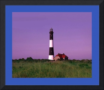 Lighthouse Violet Sky large blue border