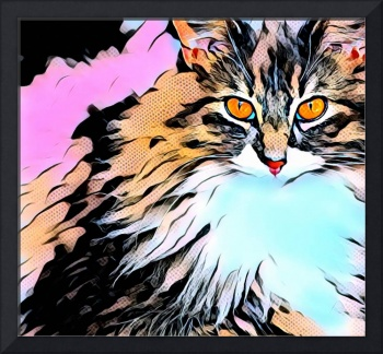 cat pop art comic